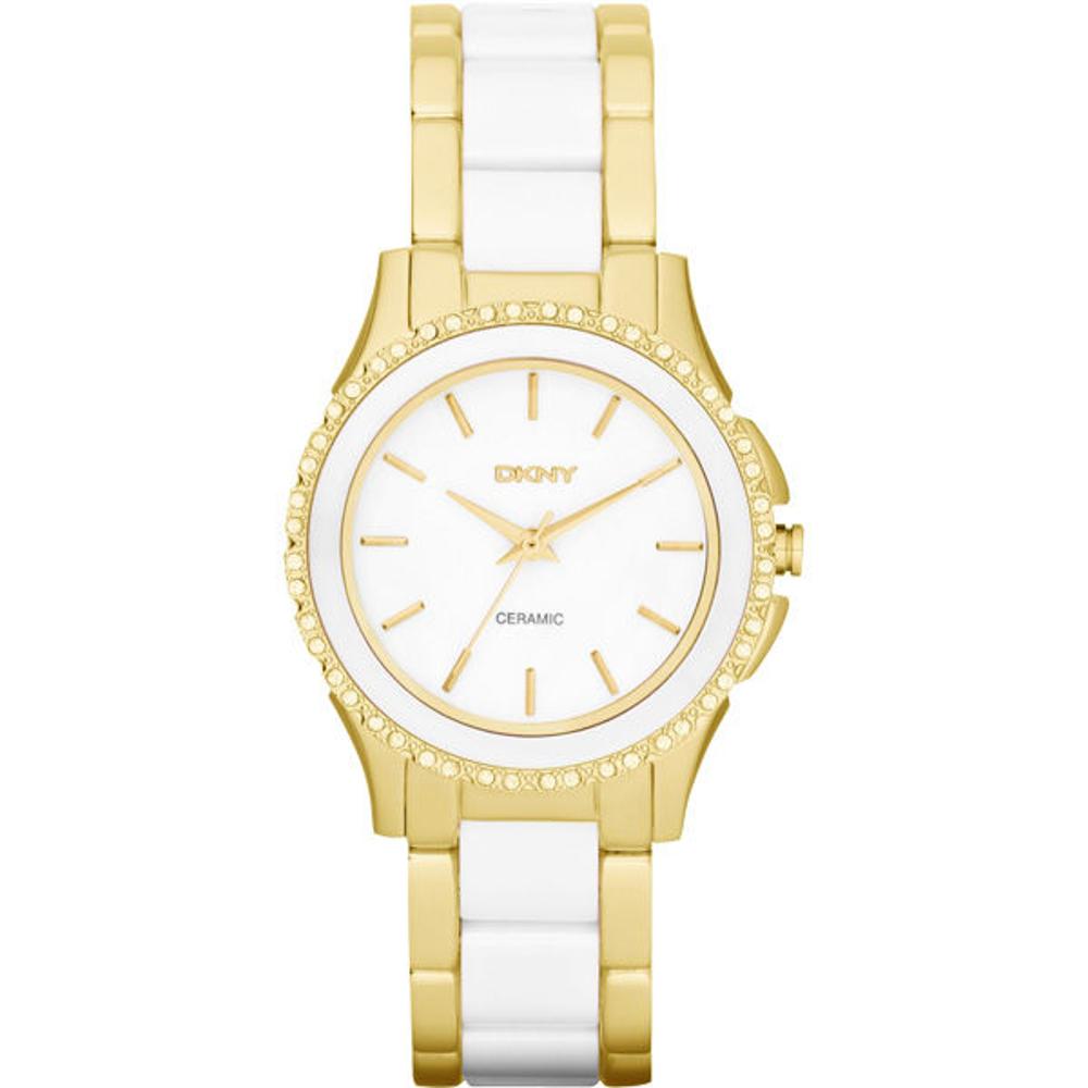 DKNY 絕代魅力陶瓷晶鑽都會腕錶-金