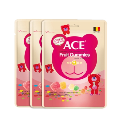 【ACE】比利時進口 水果Q軟糖 量販包3袋裝(240g/袋)