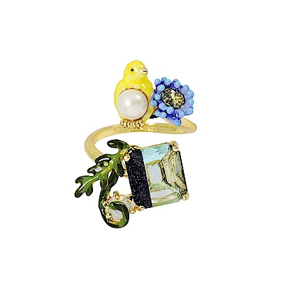 Les Nereides 動物花園系列 金絲雀花園綠寶石可調整戒指
