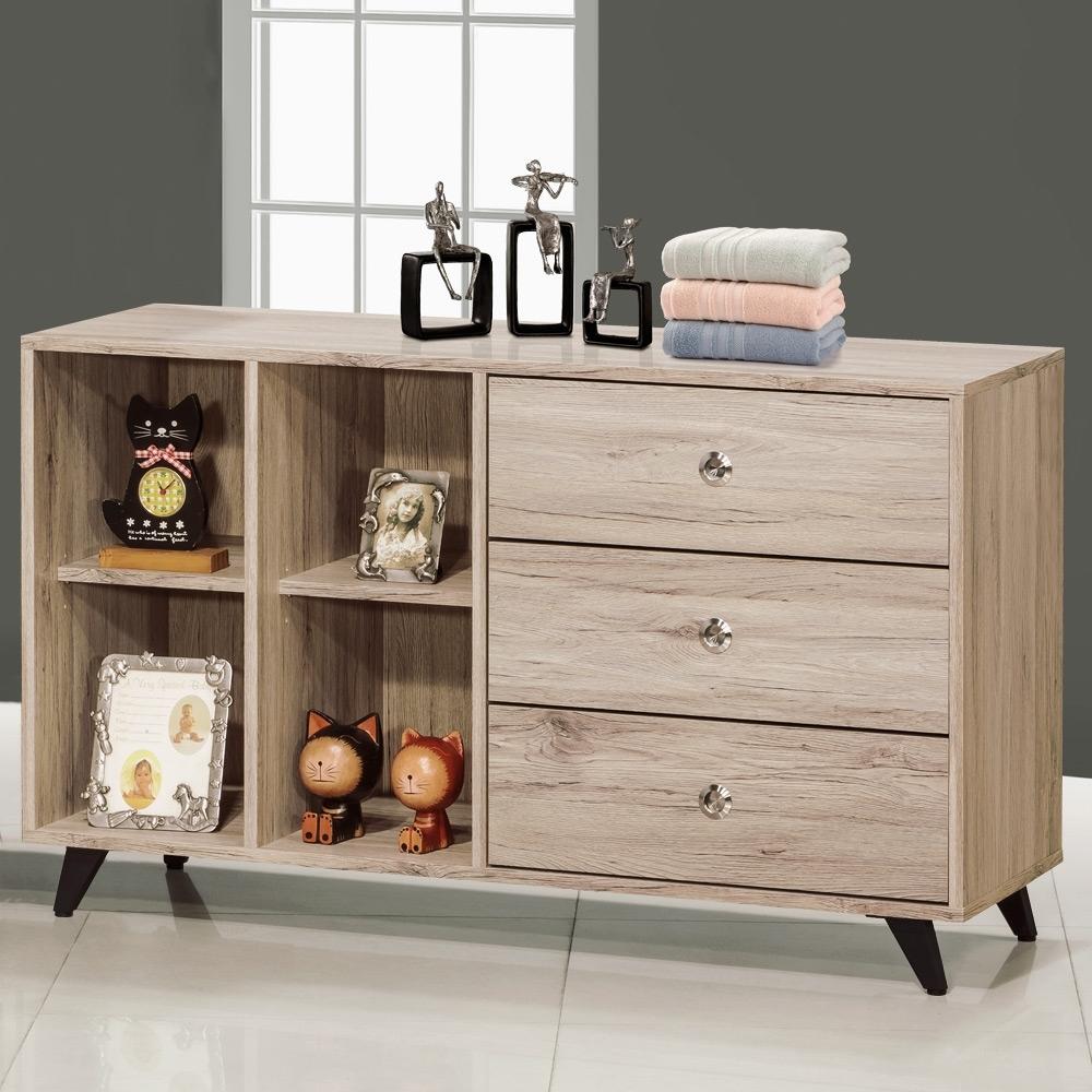 Homelike 希特爾4尺三抽置物櫃(二色)-121x40x72cm