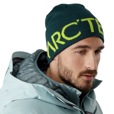 Arcteryx 始祖鳥 Logo 保暖針織羊毛毛帽 迷惑藍/脈搏綠
