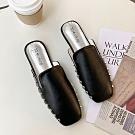 韓國KW美鞋館 復古風情素面金屬平底穆勒鞋-黑