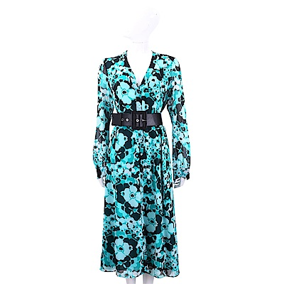 Michael Kors Floral Chiffon 雪紡印花附皮帶藍綠色V領洋裝 @ Y!購物