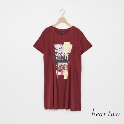beartwo-塗鴉收腰長上衣-紅