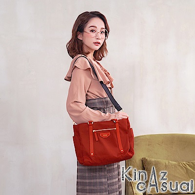 KINAZ casual 風尚潮流兩用斜背托特包-活力亮紅-墨鏡系列-快