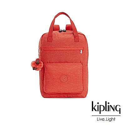 Kipling 亮橘色素面大容量實用手提後背包-NEW SALEE