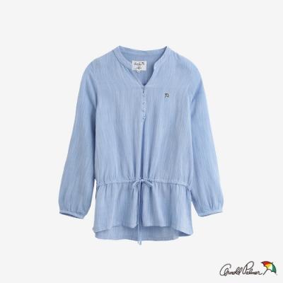 Arnold Palmer-女裝-LINEN RAYON腰部內抽繩襯衫-淺藍