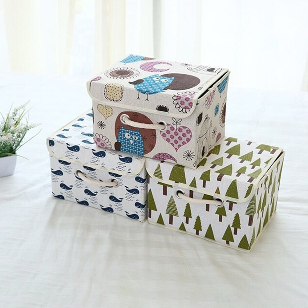 【Cap】日式棉麻可摺疊收納箱(大)