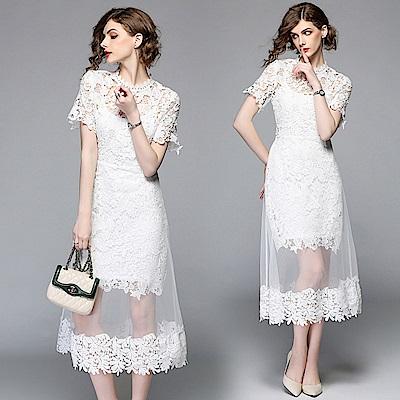 純白氣質蕾絲網紗拼接洋裝S-2XL-M2M
