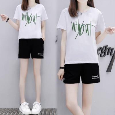【韓國K.W.】(預購)字母造型運動套裝褲-3色