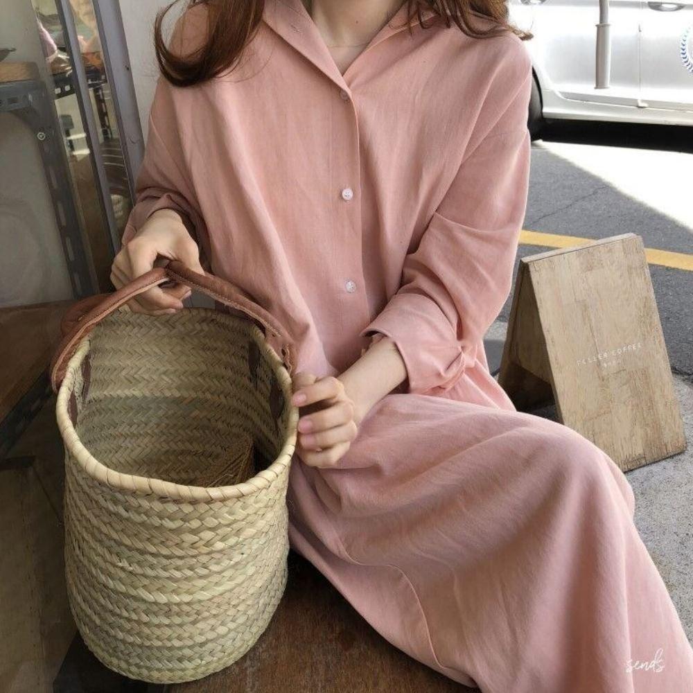 MOCO韓版輕熟優雅慵懶風超長版襯衫式連身洋裝棉麻過膝開釦外套S~XL