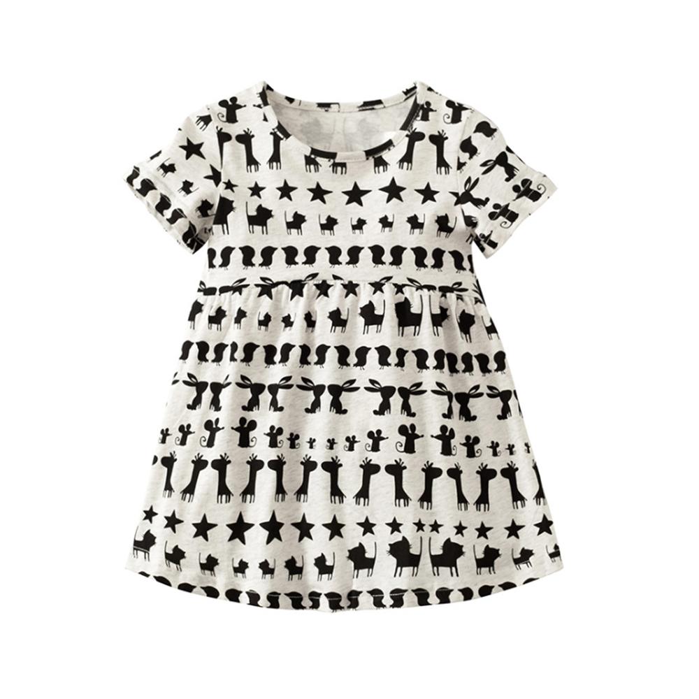 女童 中小童歐美印花純棉連身裙