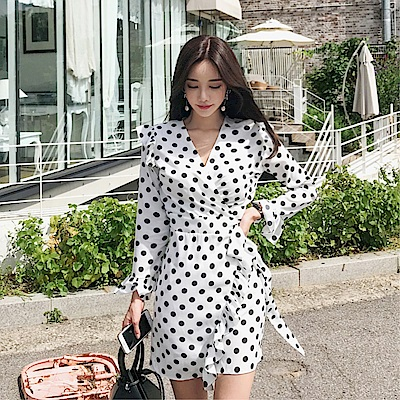 DABI 韓系波點系帶喇叭袖V領收腰長袖洋裝