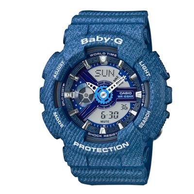 BABY-G丹寧紋路設計時尚新指標休閒錶(BA-110DC-2A2)-藍/43.4mm