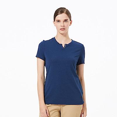【HAKERS 】女 彈性快乾V領衫-深藍