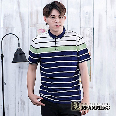 Dreamming 型男拼色線條透氣棉質彈力短POLO衫-共二色