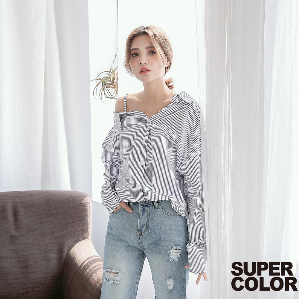 SUPER COLOR 休閒小性感單邊露肩直紋襯衫