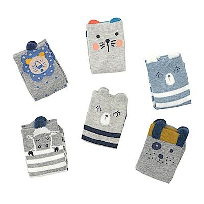 JoyNa 童襪嬰兒防滑襪-可愛動物造型短襪-3入