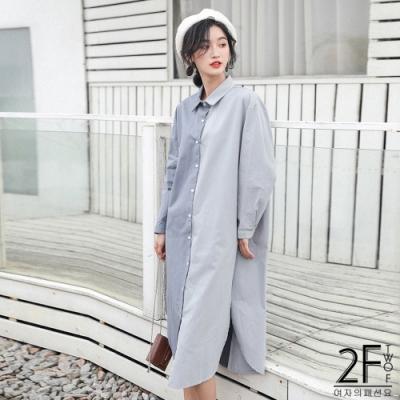 2F韓衣-雙色拼接襯衫連身裙