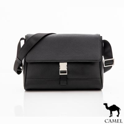 CAMEL - 經典鹿紋牛皮多口袋收納翻蓋側背包