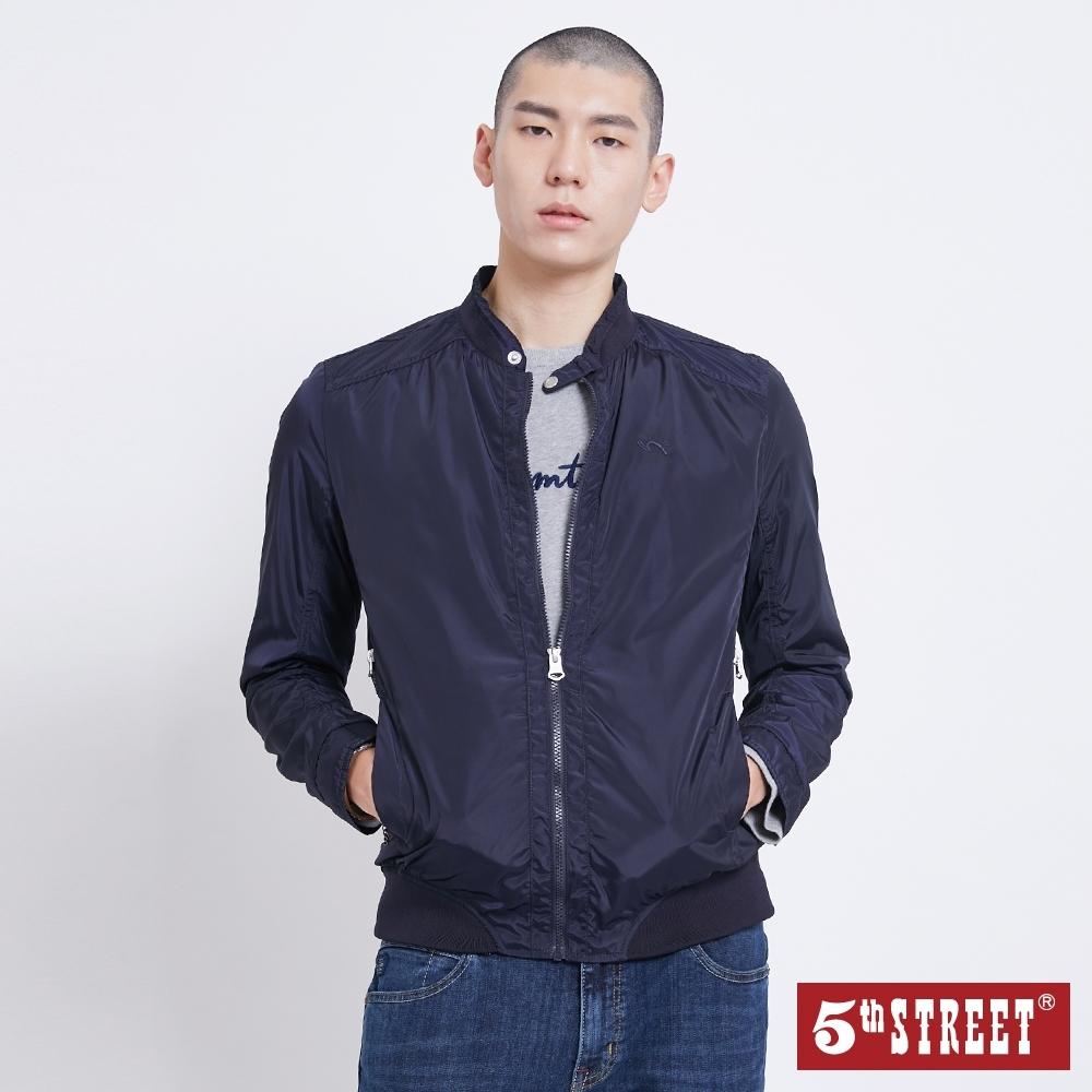 5th STREET 素面立領 風衣外套-男-丈青