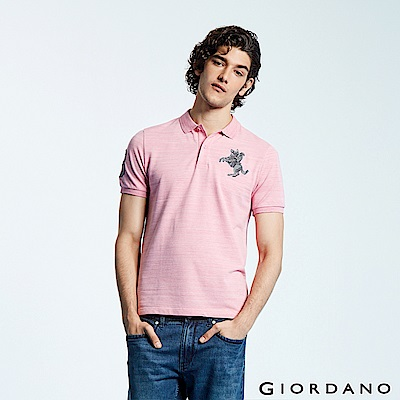 GIORDANO 男裝經典拿破崙撞色刺繡彈力萊卡POLO衫-46 花紗粉紅