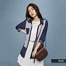 【KiKi】牛仔拼接長袖-襯衫(卡色)