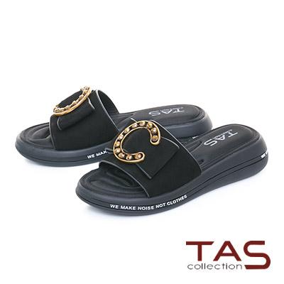TAS C字金屬一字寬版個性涼拖鞋-街頭黑