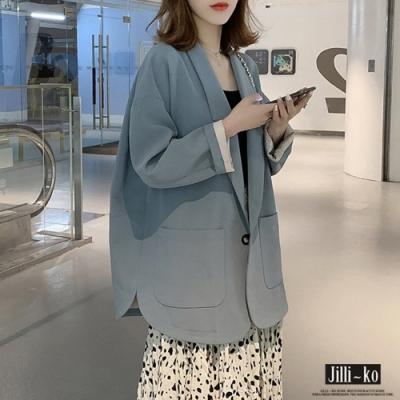 JILLI-KO 立挺面料單釦寬版西裝外套- 天藍