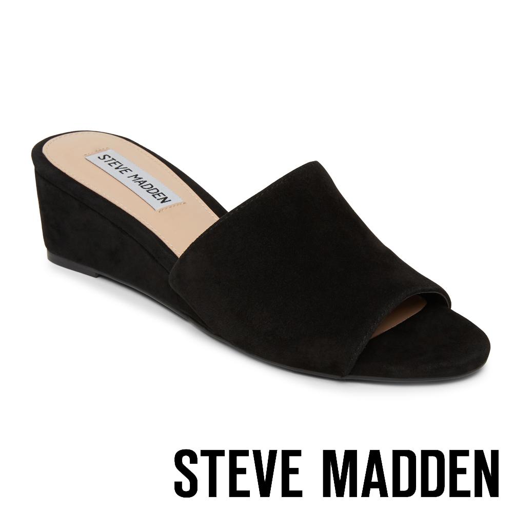 STEVE MADDEN LOFT 夏日真皮透氣楔形鞋-絨黑