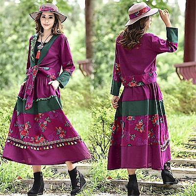 紫紅瑰繡民族風長裙套裝-M~2XL-維拉森林