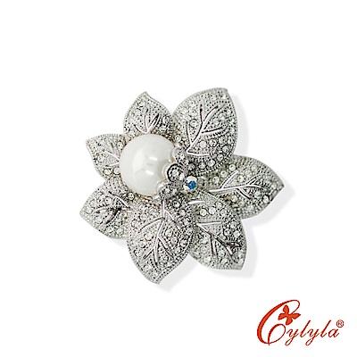 Cylyla思琳娜 珍珠茉莉奧地利水晶胸針B-10864G