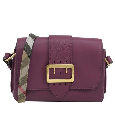BURBERRY BUCKLE金屬裝飾針釦小牛皮斜背包(紫紅)