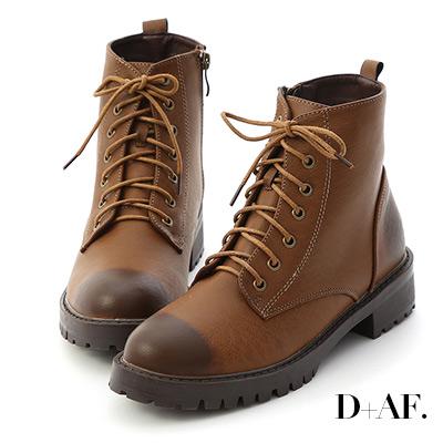 D+AF 街頭潮流.仿舊感擦色綁帶軍風短靴*咖