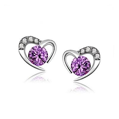 米蘭精品 925純銀耳環-甜美愛心鑲鑽耳環