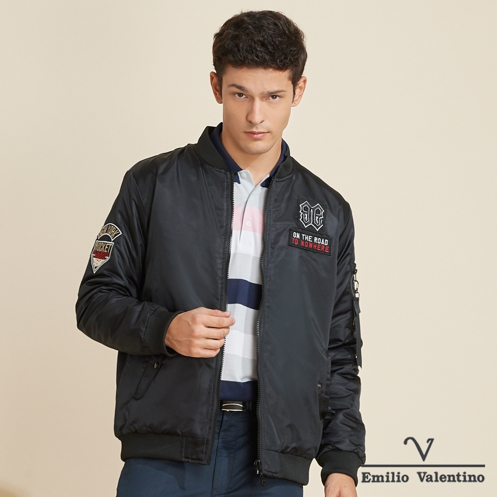 Emilio Valentino范倫鐵諾帥氣時尚立領鋪棉禦寒飛行外套_黑(15-K3950)