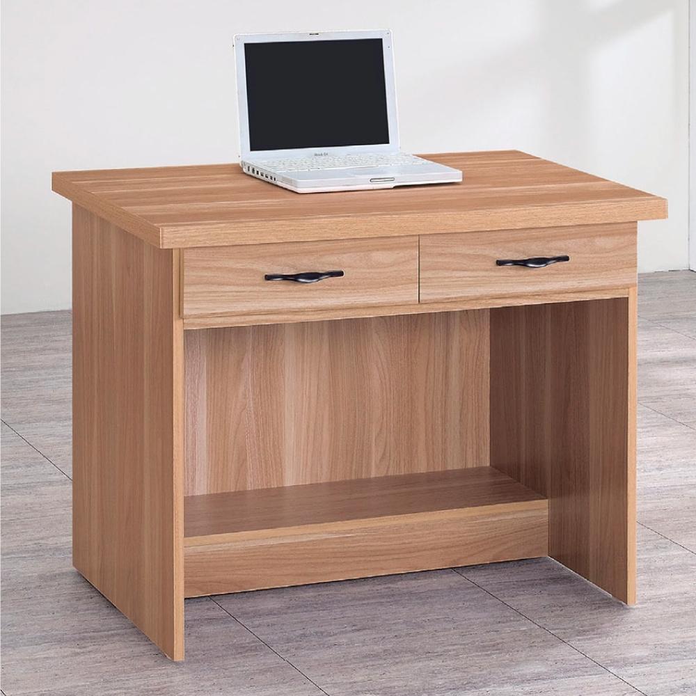 Bernice-原切橡木浮雕3尺二抽書桌-90×58.5×74cm