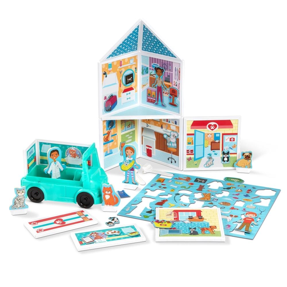 【美國瑪莉莎 Melissa & Doug 】磁力建構娃娃屋 - 寵物診療室