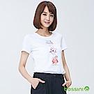 bossini女裝-印花短袖T恤09白