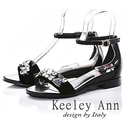 Keeley Ann 高雅出眾~亮澤水鑽腳踝釦帶真皮平底涼鞋(黑色-Ann)
