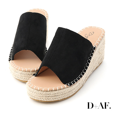 D+AF 仲夏魅力.一字寬版草編楔型拖鞋*黑