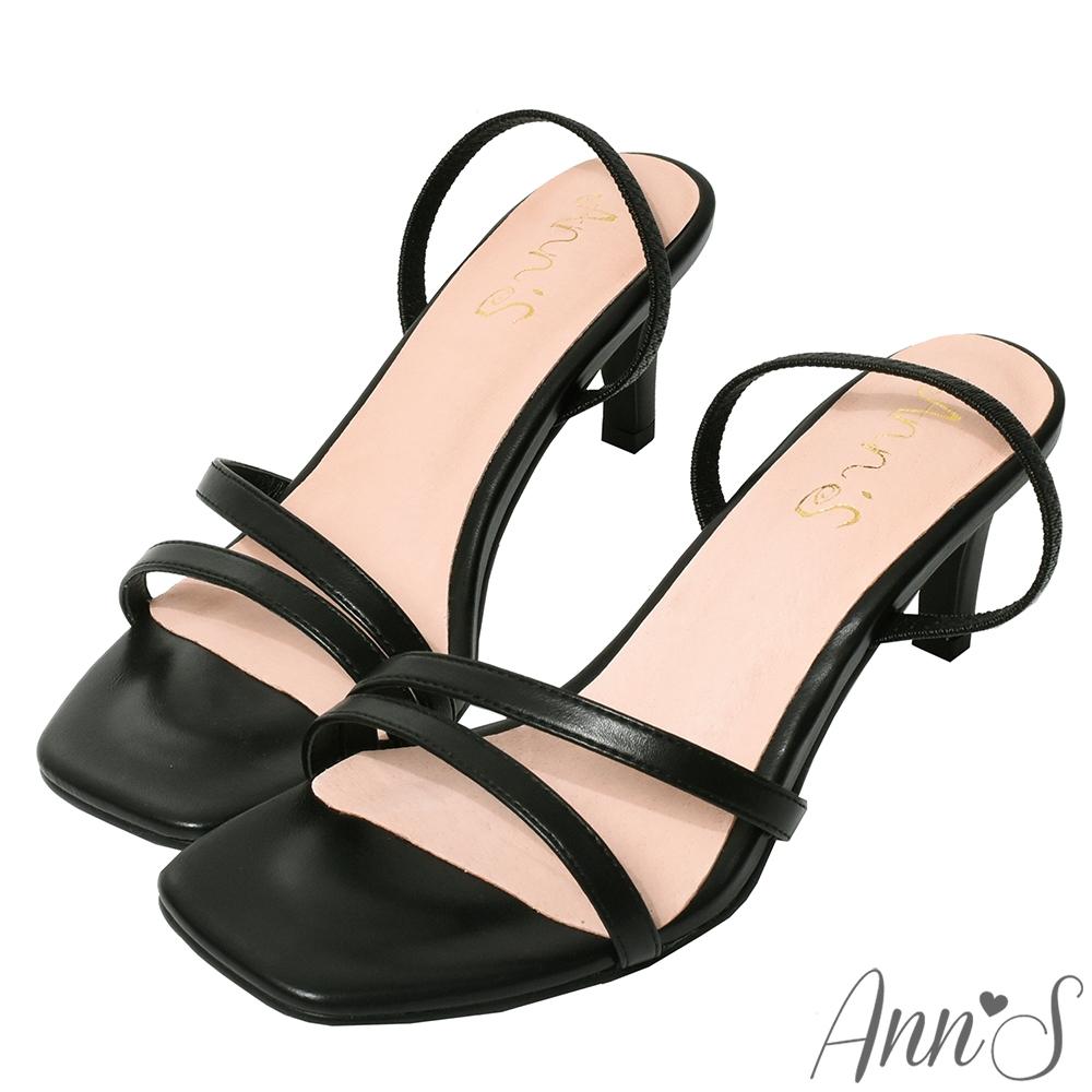 Ann'S重塑氣質-簡約細帶後拉帶細跟方頭涼鞋-黑