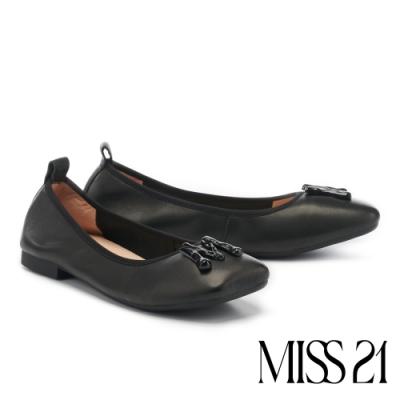 低跟鞋 MISS 21 都會時髦小氣質抓皺方頭低跟鞋-黑