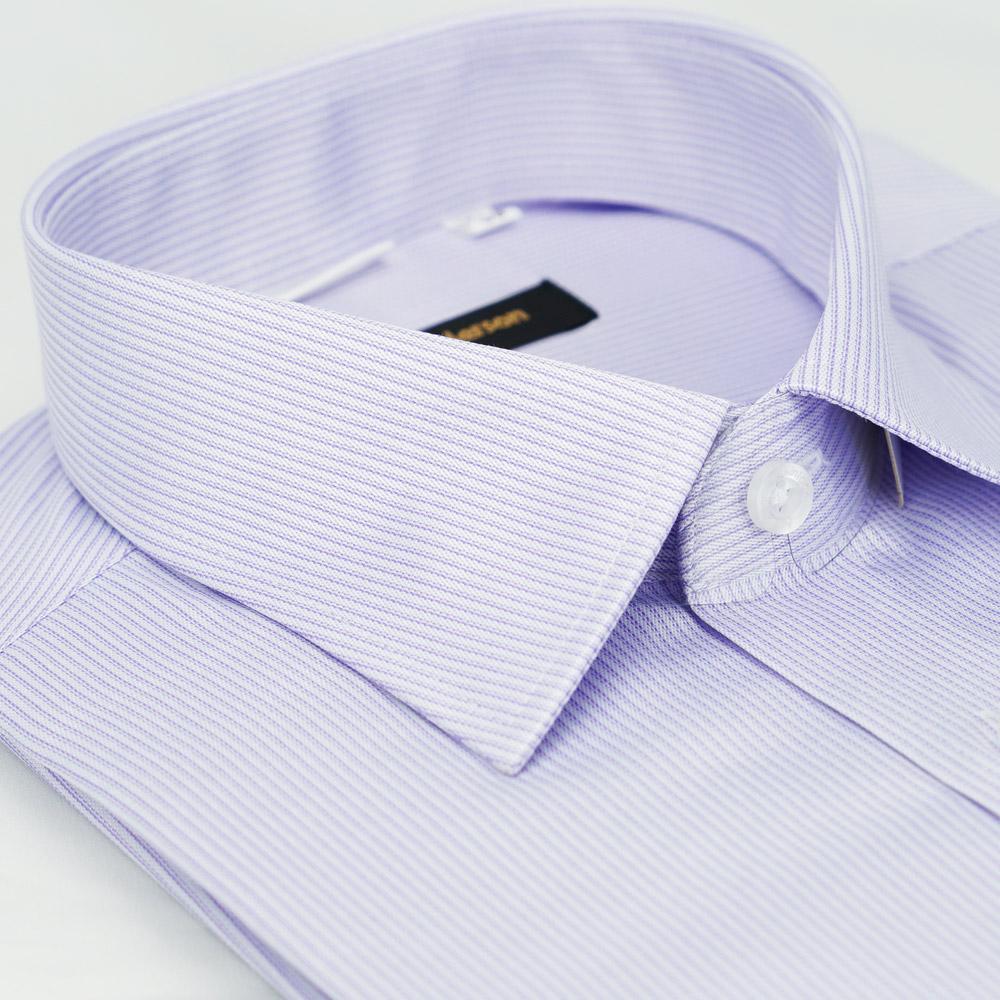 金‧安德森 紫色條紋窄版短袖襯衫