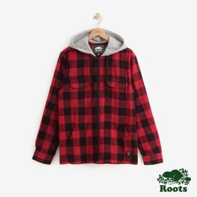 Roots 男裝- 經典格紋連帽襯衫-紅
