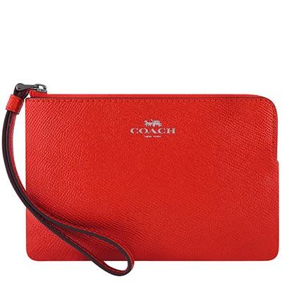 COACH 亮紅色防刮皮革手拿包