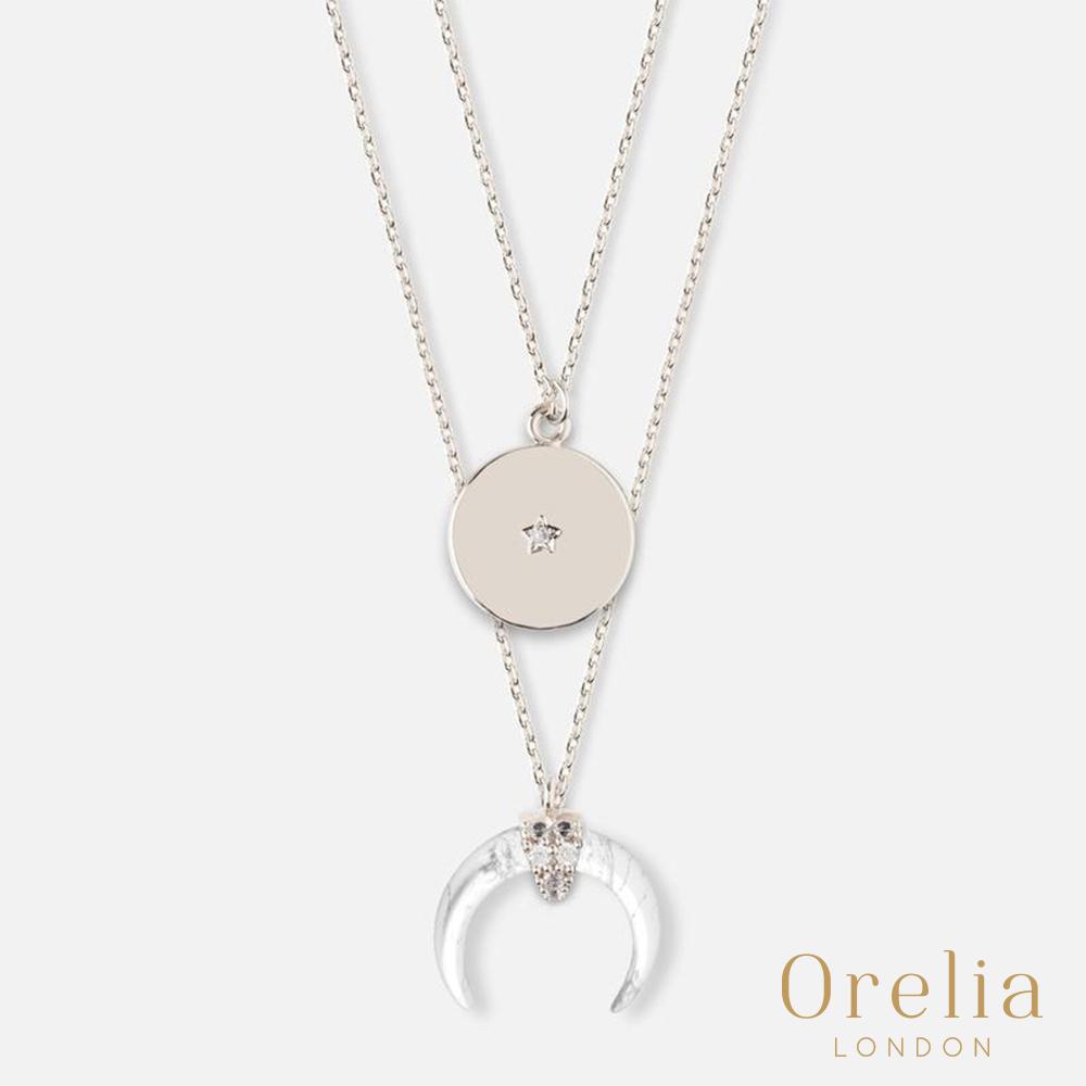 Orelia 英國倫敦 月牙大理石雙層項鍊(白)