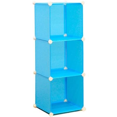 DIY魔片收納櫃 (3格簡易組裝櫃收納架/百變樹脂組合櫃組合架子/三格塑料置物櫃置物架)