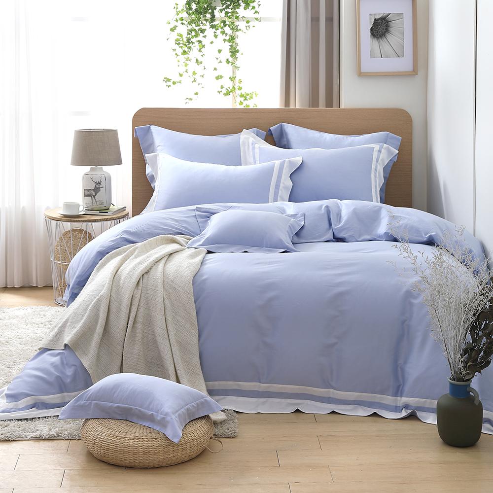LASOL睡眠屋-300織拚接設計款精梳棉 雙人兩用被床包四件組 粉漾藍