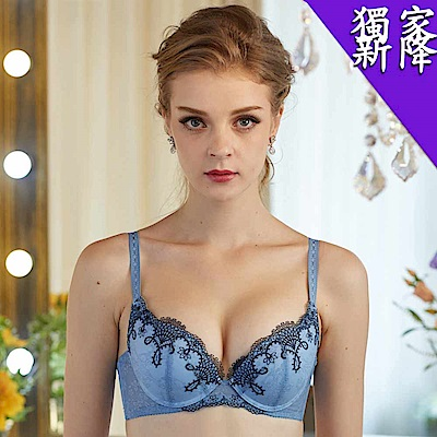 華歌爾 時尚歐風完美包覆B-D罩杯內衣(冰晶藍)